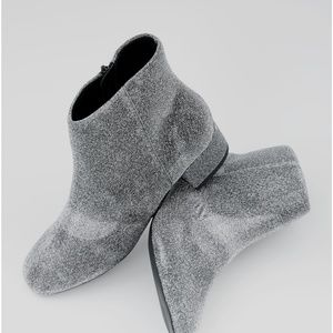 New Look Silver Glitter Ankle Boots